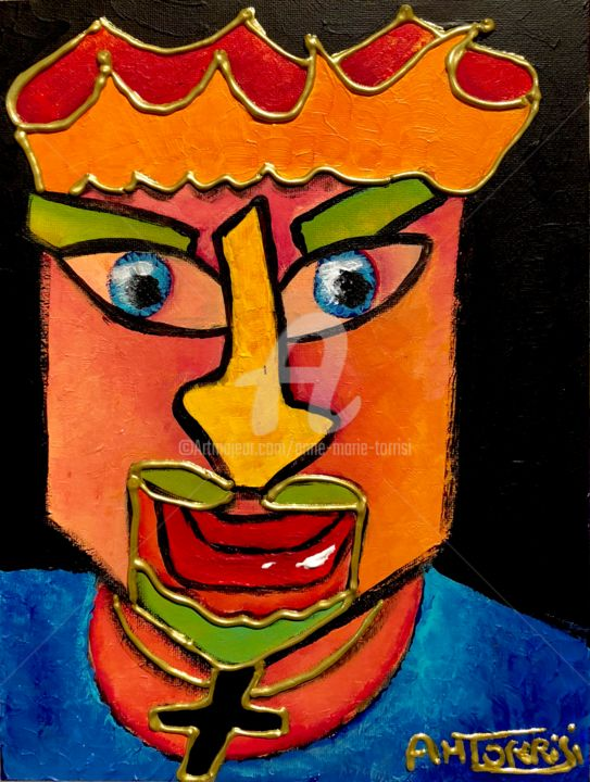 zoom IMMORTEL - Painting,  9.5x7.1 in, ©2018 by Anne Marie Torrisi -                                                                                                                                                                                                                                                                                                                  Outsider Art, outsider-art-1044, Men, CHANTEUR, JOHNNY HALLIDAY, ICONE