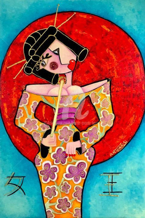 L'IMPERATRICE - Painting,  47.2x31.5x0.4 in, ©2018 by Anne Marie Torrisi -                                                                                                                                                                                                                                                                                                                  Outsider Art, outsider-art-1044, Women, femme, japonaise, japon