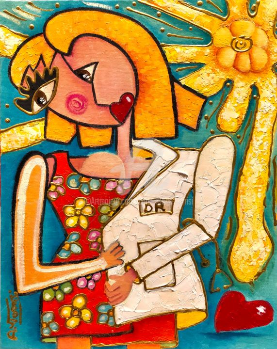 LA BLOUSE BLANCHE - Painting,  16.1x13 in, ©2018 by Anne Marie Torrisi -                                                                                                                                                                                                                                                                                                                  Outsider Art, outsider-art-1044, Women, femme, blouse blanche, medecin