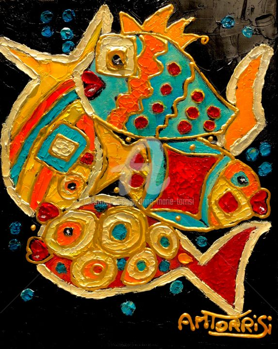 LA DANSE DES POISSONS - Painting,  11.8x9.5 in, ©2019 by Anne Marie Torrisi -                                                                                                                                                                                                                                                                      Naive Art, naive-art-948, Fish, poissons, pesce