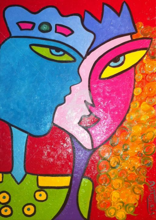 tous-reines-et-rois - Painting,  27.6x19.7 in, ©2013 by Anne Marie Torrisi -                                                                                                                                                                                                                                                                  Naive Art, naive-art-948, AMOUR, COUPLE, AMOUREUX