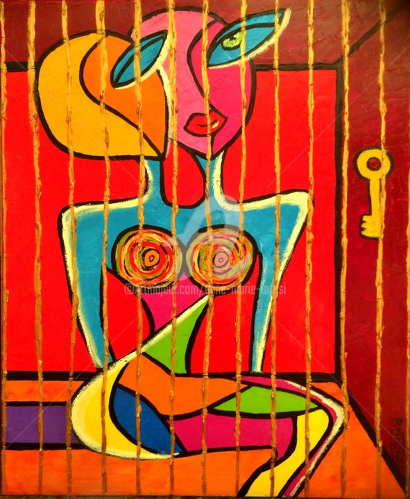 LA LIBERTE - Painting,  28.7x23.6x0.4 in, ©2014 by Anne Marie Torrisi -                                                                                                                                                                                                                                                                      Abstract, abstract-570, Women, femme, prison