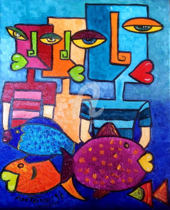 Les Pecheurs - Painting,  18.1x15 in, ©2014 by Anne Marie Torrisi -                                                                                                                                                                                                                                                                                                                  Figurative, figurative-594, Fish, pécheur, poisson, marin