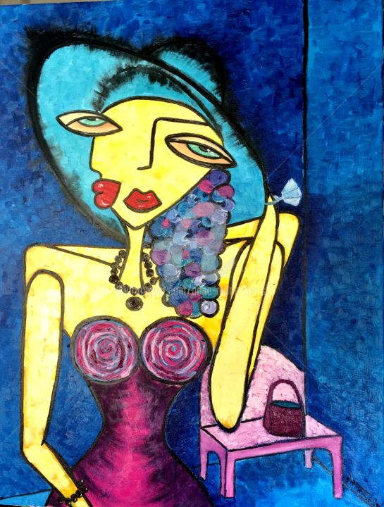 LA BOURGEOISE - Painting,  31.5x23.6x0.4 in, ©2014 by Anne Marie Torrisi -                                                                                                                                                                                                                                                                      Figurative, figurative-594, Women, BOURGEOISE, FEMME