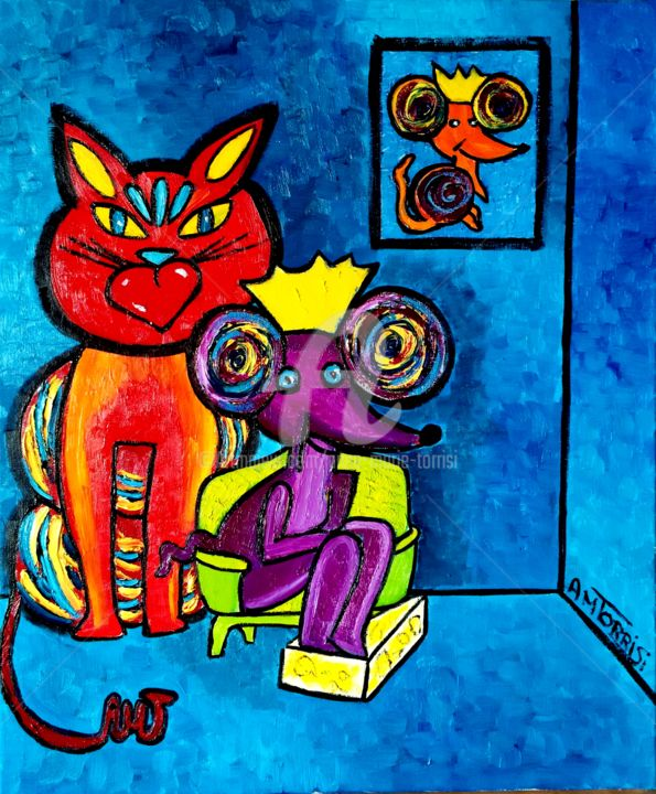 LA PLACE* - Painting,  21.7x18.1 in, ©2014 by Anne Marie Torrisi -                                                                                                                                                                                                                                                                                                                                                              Figurative, figurative-594, Animals, chat, souris, animaux, place perdue