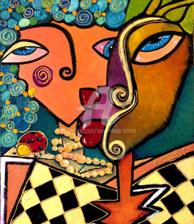 LE COUPLE ET LA COCCINELLE - Painting,  21.7x18.1x0.4 in, ©2015 by Anne Marie Torrisi -                                                                                                                                                                                                                                                                                                                  Figurative, figurative-594, People, COCCINELLE, COUPLE, AMOUR