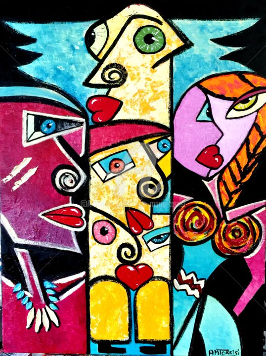 TOT'AIME - Painting,  31.5x23.6 in, ©2015 by Anne Marie Torrisi -                                                                                                                                                                                                                                                                      Figurative, figurative-594, World Culture, indiens, totem