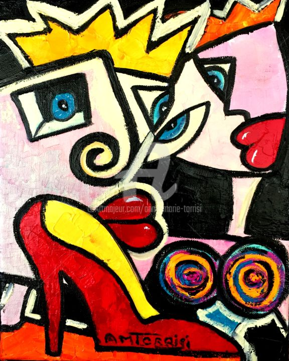 CENDRILLON - Painting,  11.8x9.5 in, ©2015 by Anne Marie Torrisi -                                                                                                                                                                                                                                                                                                                  Naive Art, naive-art-948, Love / Romance, CENDRILLON, CHAUSSURE, AMOUR