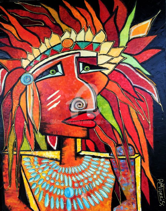 CHEYENNE - Painting, ©2016 by Anne Marie Torrisi -                                                                                                                                                                                                                                                                                                                  Figurative, figurative-594, Men, INDIEN, CHEYENNE, AMERINDIENS