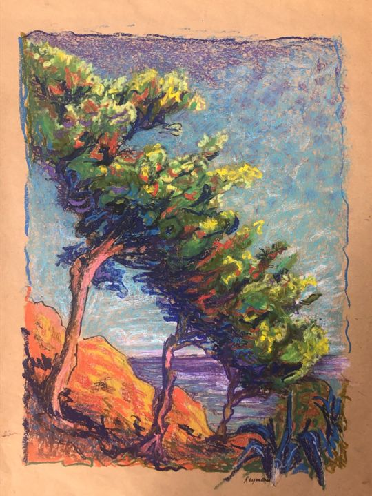 """Drawing titled """"Aux Abords de Banyu…"""" by Anne Reymond, Original Art, Pastel Mounted on Cardboard"""