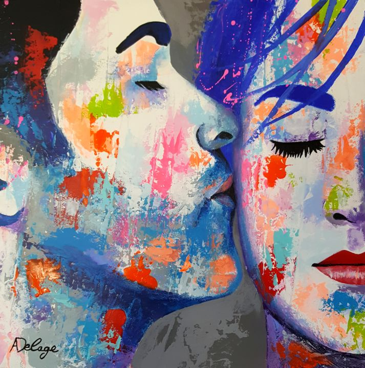 bisou - Painting,  25x25 cm ©2018 by Annabelle Delage -