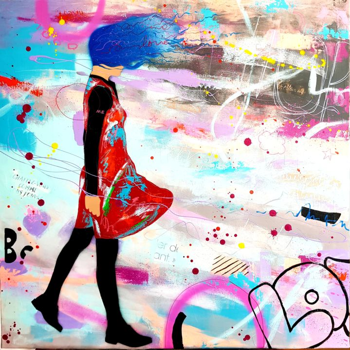 Quand je marche - Painting,  31.5x31.5 in, ©2020 by Annabelle Delage -