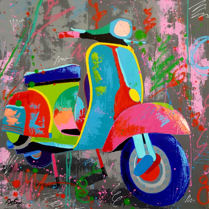 Vespa - Painting,  14.2x14.2x0.4 in, ©2018 by Annabelle Delage -