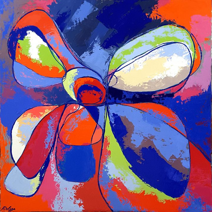 flower 2 - Painting,  80x80 cm ©2015 by Annabelle Delage -