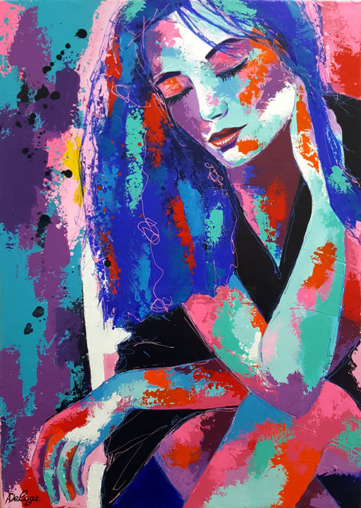 La robe noire - Painting,  27.6x19.7 in, ©2017 by Annabelle Delage -