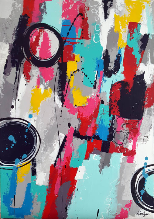 Bla bla in the city - Painting,  70x50 cm ©2017 by Annabelle Delage -