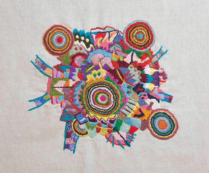 "mandala ""oeuvres textiles"" - Mixed Media ©2013 by Anne Guerrant -                        Fabric"