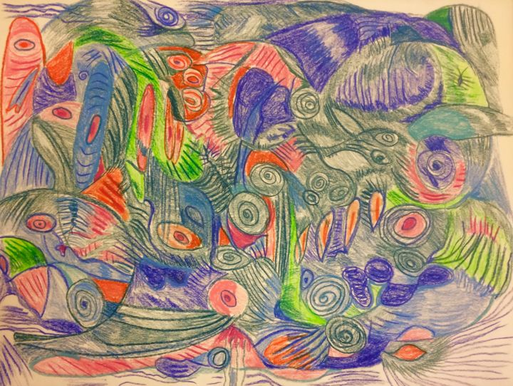 Drawn To You #5 - Drawing,  18x24x0.2 in ©2017 by Anne-Marie Delaunay-Danizio -                                                            Abstract Expressionism, Paper, Colors, inner landscape