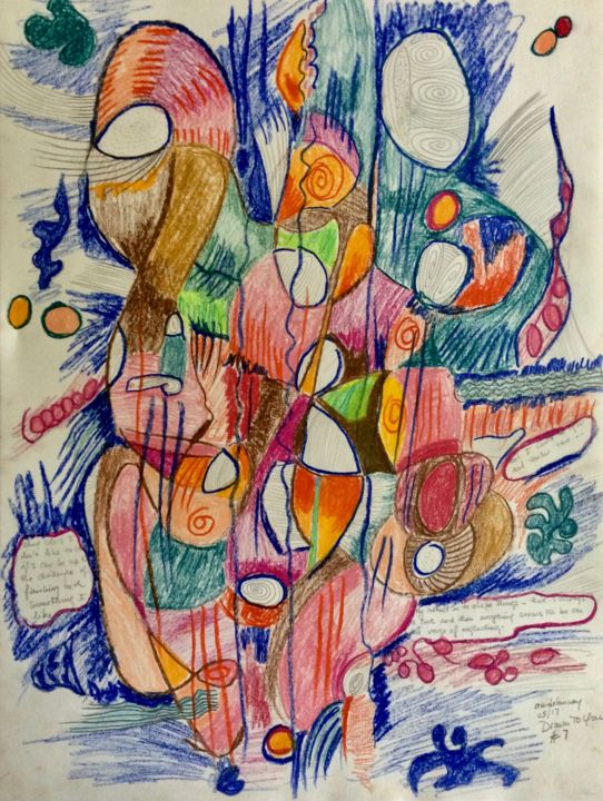 Drawn To You #7 - Drawing,  24x18x0.2 in ©2017 by Anne-Marie Delaunay-Danizio -                                                            Abstract Expressionism, Paper, Colors, inner landscape