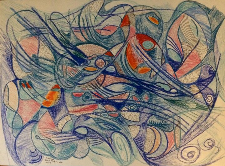 Drawn To You # 8 - Drawing,  18x24x0.2 in ©2017 by Anne-Marie Delaunay-Danizio -                                                                        Abstract Expressionism, Paper, Colors, Landscape, inner landscape, organic patterns, ocean