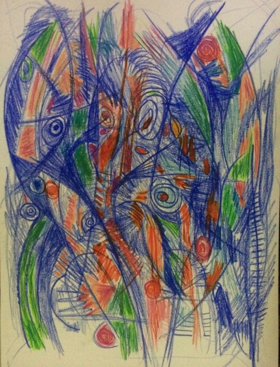 Drawn To You #9 - Drawing ©2017 by Anne-Marie Delaunay-Danizio -                                                            Abstract Expressionism, Paper, Colors, abstract, inner landscape