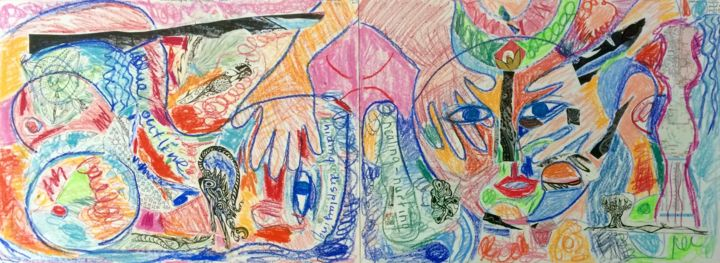 Hiding-Displaying/Hurting-Healing - Painting,  18x48x0.01 in ©2017 by Anne-Marie Delaunay-Danizio -                                                                                                Expressionism, Paper, Body, Colors, Graffiti, Mortality, Emotions, Mortality, Humanity
