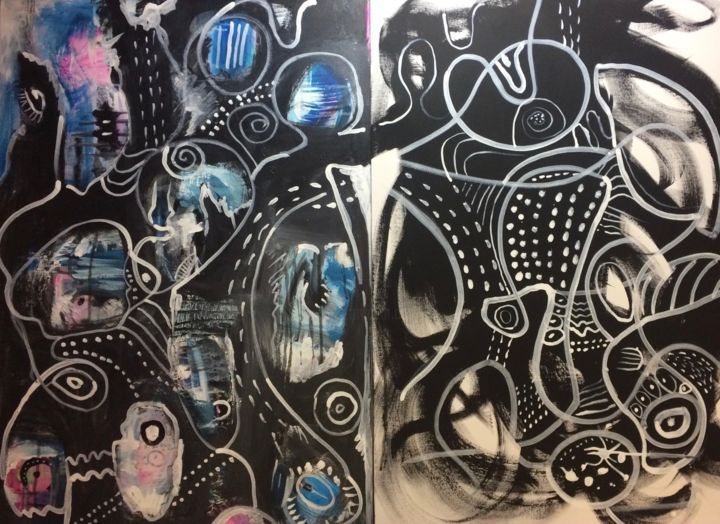 The Cave (diptych) - Painting,  24x36x0.5 in ©2018 by Anne-Marie Delaunay-Danizio -