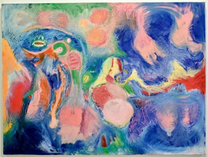 Beneath the Surface - Painting,  36x48x1 in, ©2019 by Anne-Marie Delaunay-Danizio -                                                                                                                          Expressionism, expressionism-591