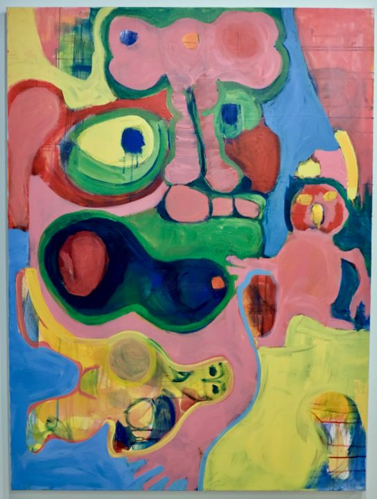 Monster with a Pink Bow - Painting,  48x36x1 in, ©2019 by Anne-Marie Delaunay-Danizio -                                                                                                                                                                                                                                                                                                                                                          Expressionism, expressionism-591, Body, Cartoon, Colors, Fairytales, Graffiti