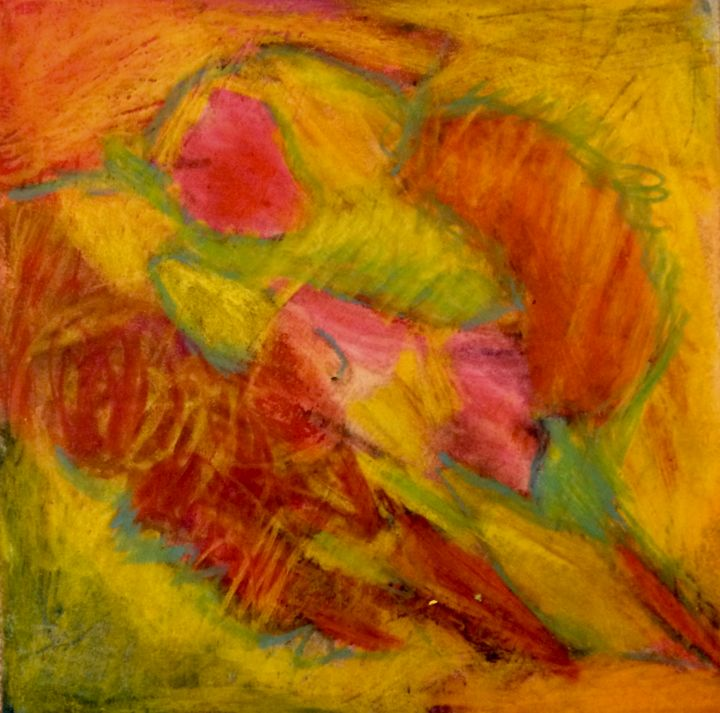 """Drawing titled """"Bloom"""" by Anne-Marie Delaunay-Danizio, Original Art, Watercolor Mounted on Cardboard"""