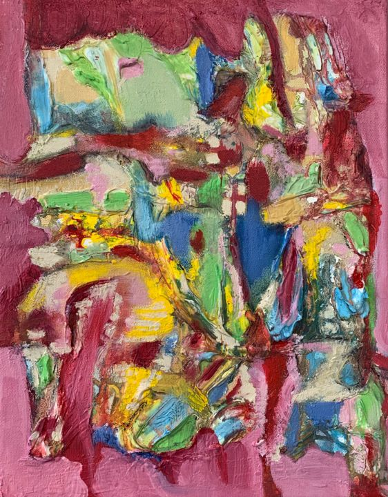 """Painting titled """"Pink Window"""" by Anne-Marie Delaunay-Danizio, Original Art, Acrylic"""