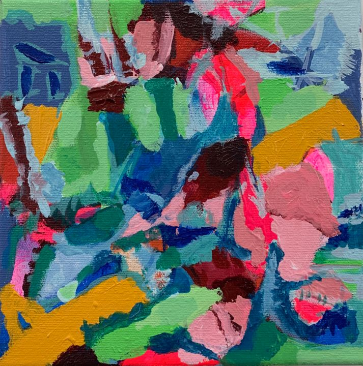 Rocky Landscape - Painting,  8x8 in, ©2020 by Anne-Marie Delaunay-Danizio -