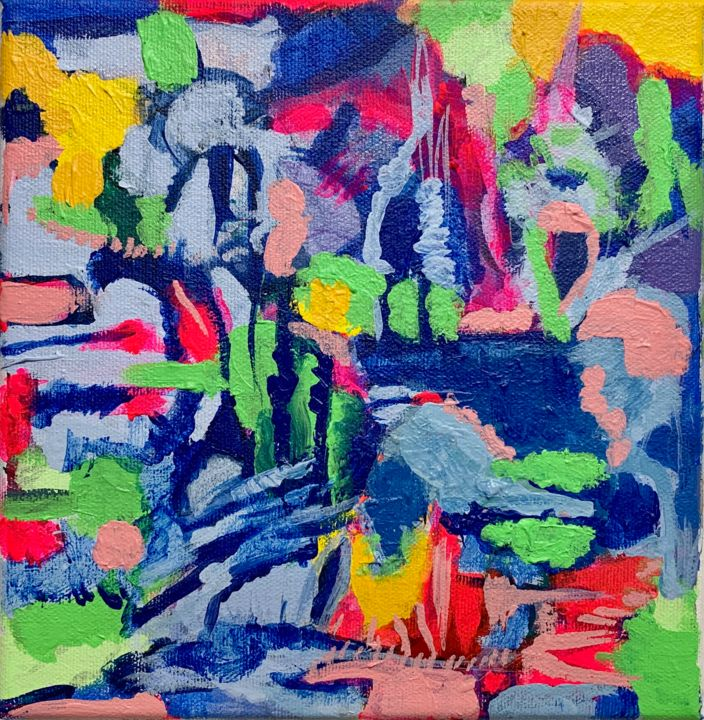 Lake - Painting,  8x8x0.8 in, ©2020 by Anne-Marie Delaunay-Danizio -                                                                                                                                                                                                                                                                                                                                                                                                                                                                                                                                                                                          Abstract, abstract-570, Abstract Art, Colors, Landscape, Water, abstract landscape, square format, small size painting, vivid colors, Water, light