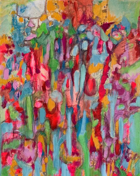 """Painting titled """"In the Woods"""" by Anne-Marie Delaunay-Danizio, Original Art, Acrylic"""