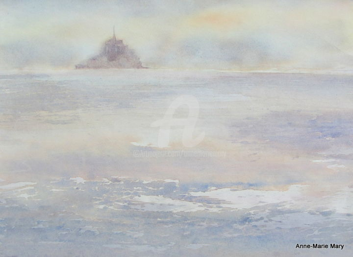 Le Mont Saint-Michel - Painting,  15.4x20.9 in, ©2007 by Anne-Marie Mary -                                                              Seascape