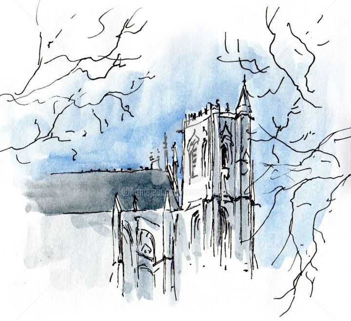 cathédrale d'Amiens (3) - Drawing, ©2019 by Anne-Marie Mary -                                                                                                                                                                                                                                                                                                                  Figurative, figurative-594, Architecture, Cities, cathédrale d'Amiens, Anne-Marie MARY