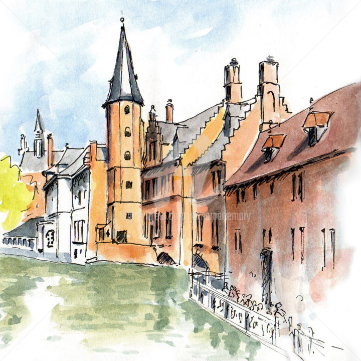Bruges - Drawing, ©2019 by Anne-Marie Mary -                                                                                                                                                                                                                                                                                                                                                                                                          Figurative, figurative-594, Architecture, Cities, Bruges, croquis Bruges, canaux de Bruges, anne-marie Mary