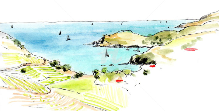 Au dessus de Port-Vendres - Drawing, ©2019 by Anne-Marie Mary -                                                                                                                                                                          Figurative, figurative-594, Landscape