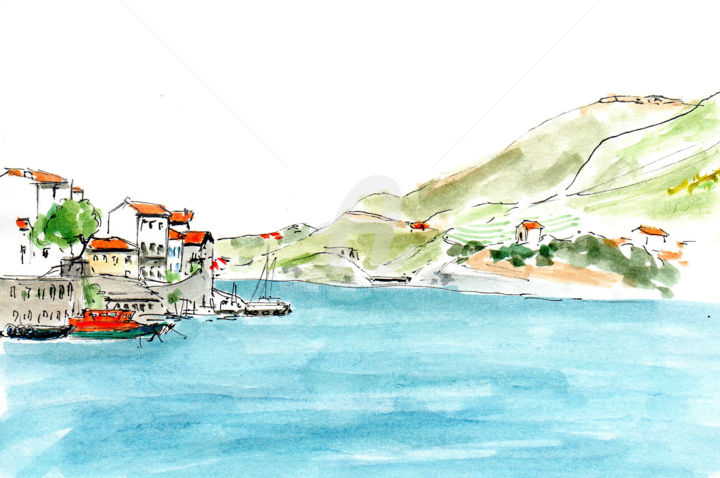 Port-Vendres 2 - Drawing, ©2019 by Anne-Marie Mary -                                                                                                                                                                                                                                                                      Figurative, figurative-594, Landscape, croquis Port-Vendres, Anne-Marie Mary