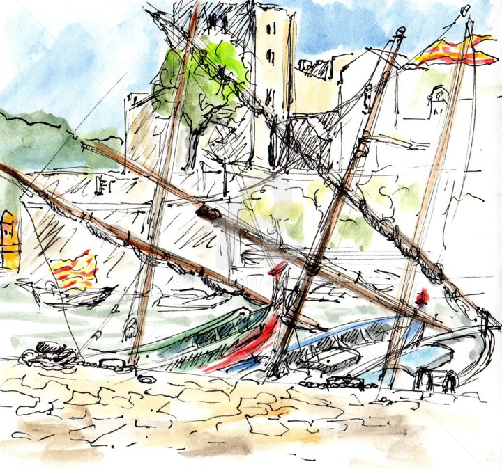 Collioure : les barques catalanes - Drawing, ©2019 by Anne-Marie Mary -                                                                                                                                                                                                                                                                      Figurative, figurative-594, Landscape, croquis Collioure, Anne-Marie MARY