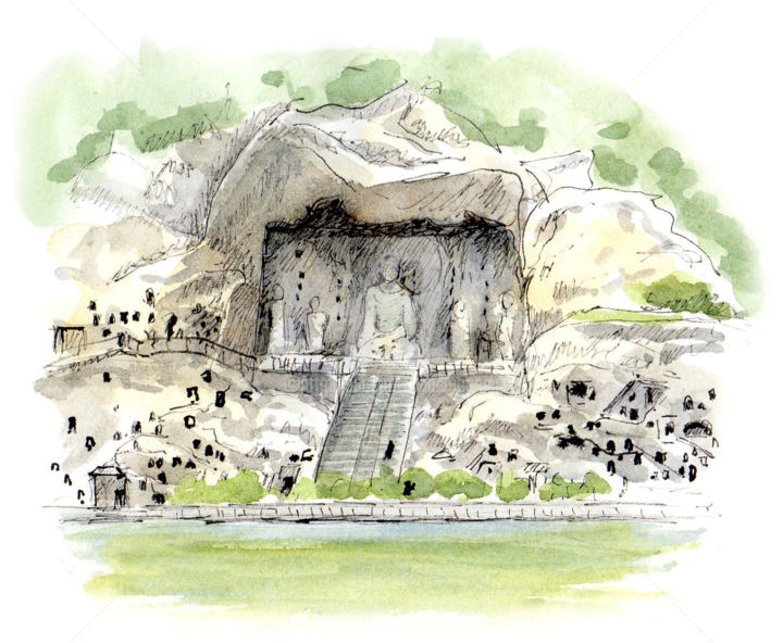 Grottes de Longmen - Drawing, ©2019 by Anne-Marie Mary -                                                                                                                                                                                                                                                                                                                  Figurative, figurative-594, Travel, Grottes de Longmen, Chine, Anne-Marie MARY