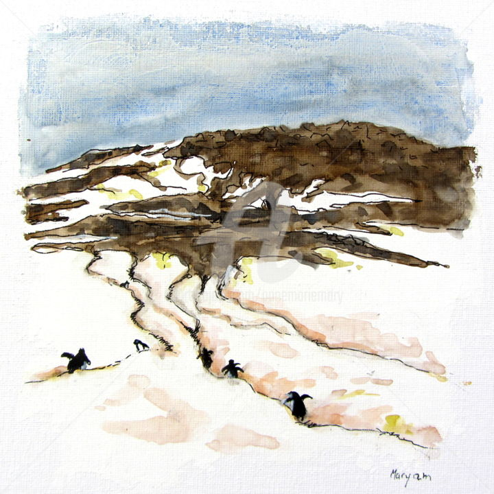 (3)Les autoroutes à manchots sur l'île Danco - Painting,  7.9x7.9 in, ©2020 by Anne-Marie Mary -                                                                                                                                                                                                                                                                                                                                                                                                                                                      Figurative, figurative-594, Animals, Landscape, manchots, île Danco, autoroutes à manchots, Antarctique, Anne-Marie MARY