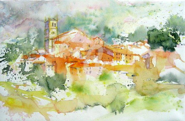 village catalan - Painting,  16.9x22.1 in, ©2011 by Anne-Marie Mary -                                                                                                                                                                                                                                                                      Figurative, figurative-594, Landscape, village catalan, mosset
