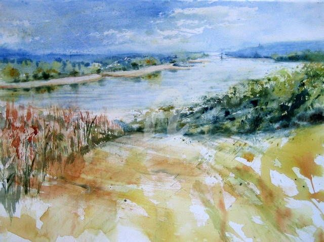 Fleuve tranquille - Painting,  26.4x33.9x0.4 in, ©2011 by Anne-Marie Mary -