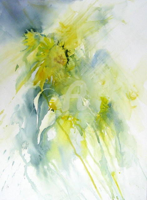 tournesols - Painting,  29.9x24x0.4 in, ©2011 by Anne-Marie Mary -