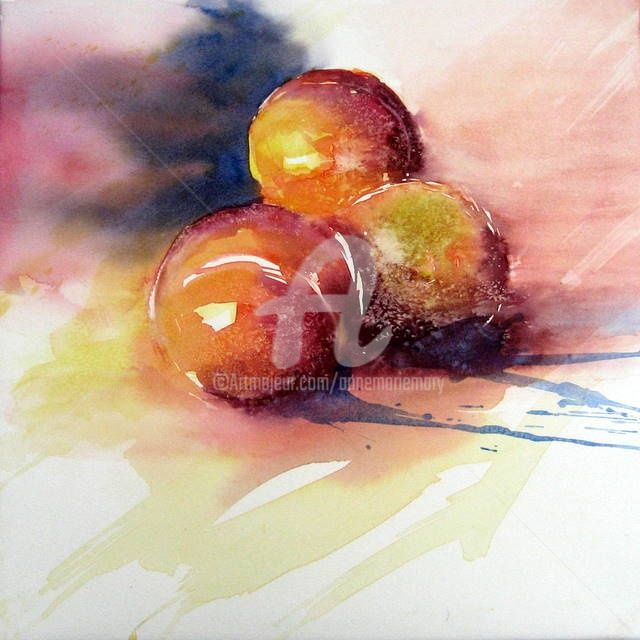 les brugnons - Painting,  18.1x18.1x0.4 in, ©2011 by Anne-Marie Mary -