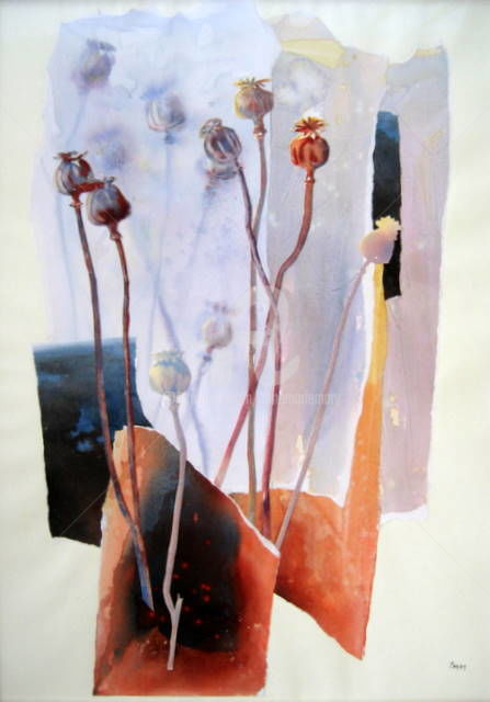 Graines de pavots  (collage aquarelle) - Peinture,  26,8x19,7 in, ©2011 par Anne-Marie Mary -