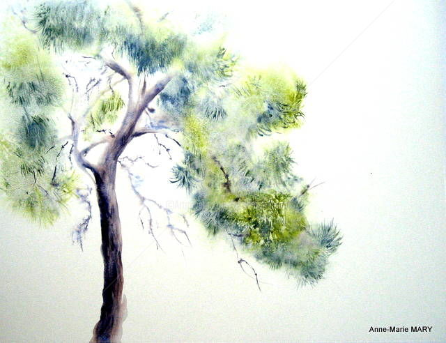 Pin 1 - Painting,  26x31.5 in, ©2011 by Anne-Marie Mary -                                                              Arbre aquarelle Pin Anne-Marie Mary expo Ramonville-Saint-Agne