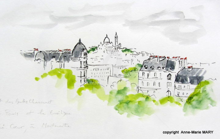 Paris-juin2014-Parc des Buttes Chaumont - Dessin, ©2014 par Anne-Marie Mary -                                                                                                                                                                                                                                                                                                                                                              Figurative, figurative-594, Architecture, Buttes Chaumont, croquis, Paris, Anne-Marie Mary