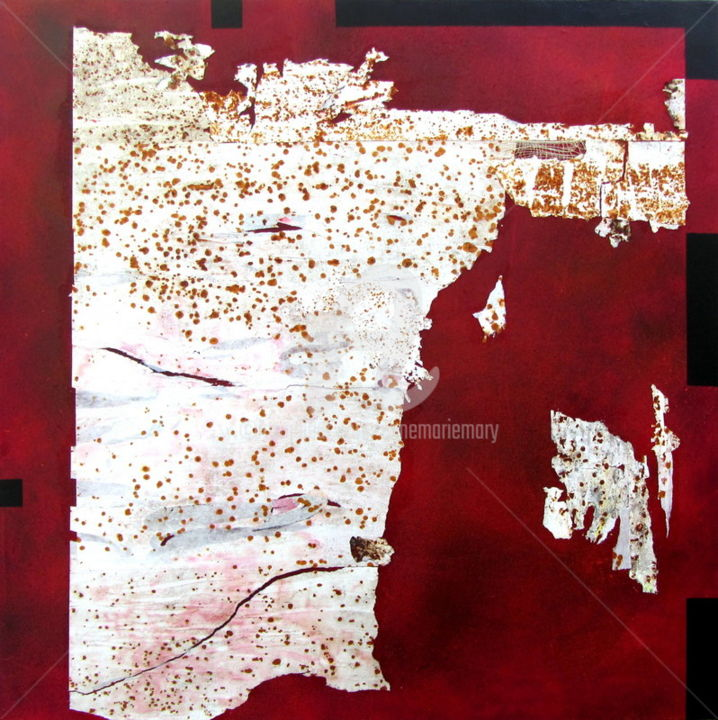 MT n°42: le cadre incomplet - Painting,  39.4x39.4 in, ©2016 by Anne-Marie Mary -                                                                                                                          Abstract, abstract-570